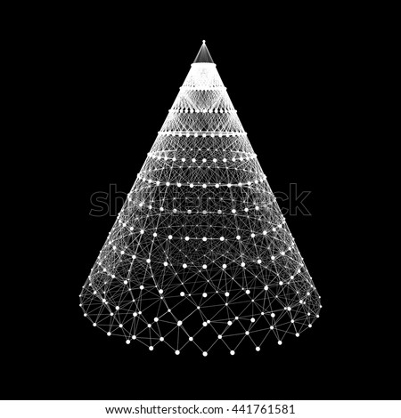 Cone with Connected Lines and Dots. Abstract 3D Connection Structure. Geometric Shape for Design. - stock vector