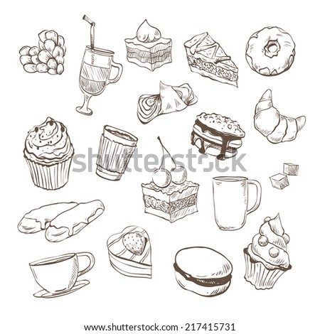 Confection hand drawn, vector illustration - stock vector