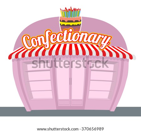 Confectionary shop. Sweets shop. Signage celebratory cake. Fun sweets and cakes bakery in  rear. Confectionary showcase. - stock vector