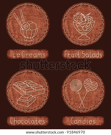 Confectionery icons and buttons on vintage wooden background set 2 (ice-creams, fruit salad, chocolates, candies)