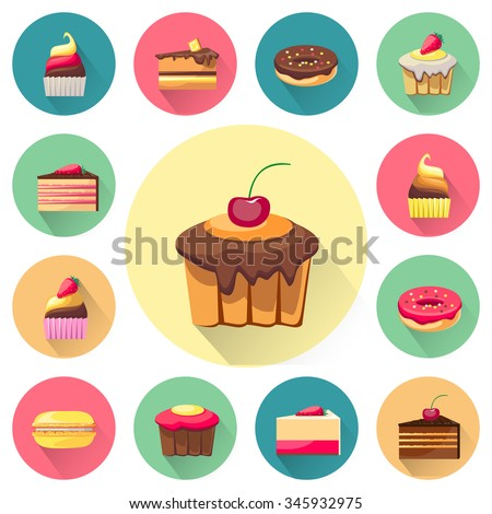 Confectionery set of isolated cakes icons with shadows. Tasty cupcakes. Delicious snack food. Yummy realistic desserts. Every icon can be easily used separately. Fresh bakery. Vector illustration
