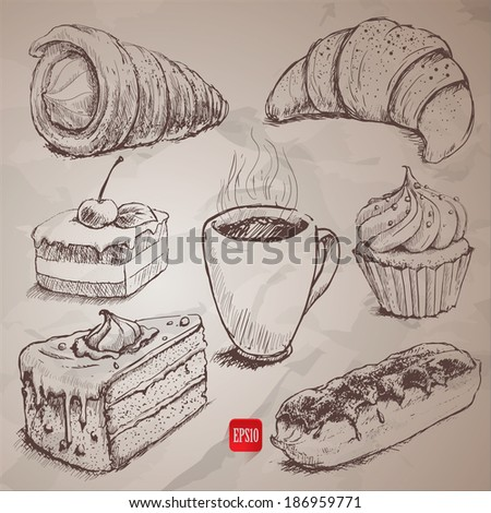 confectionery. set of vector sketches - stock vector