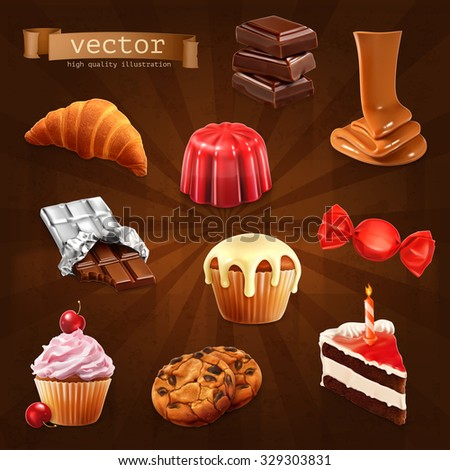 Confectionery, vector set 3 - stock vector