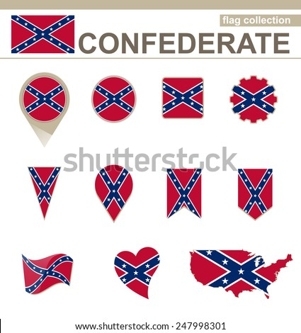 Confederate Flag Collection, 12 versions - stock vector