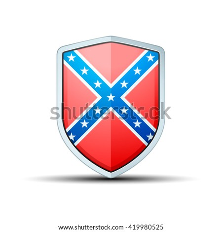Confederate flag shield sign - stock vector