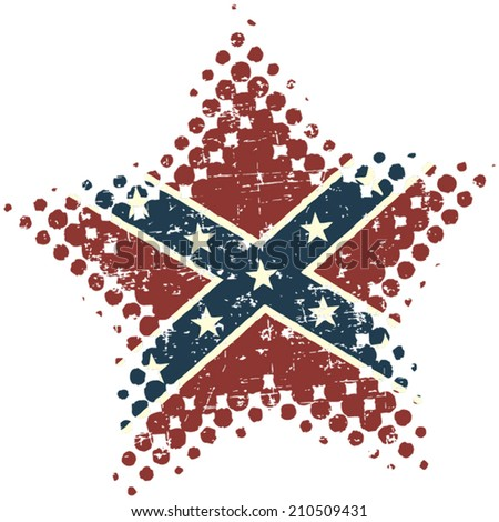 Confederate star with grunge and halftone effects - stock vector