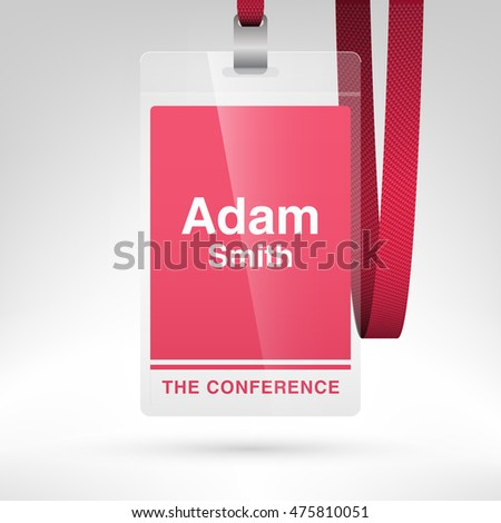 Conference Badge Name Tag Placeholder Blank Stock Vector 475810066