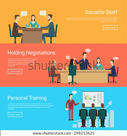 Conference banner set with training master class flat elements isolated vector illustration - stock vector