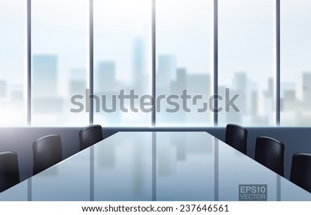 Conference desk in modern office with a great city view. Editable vector graphic - stock vector