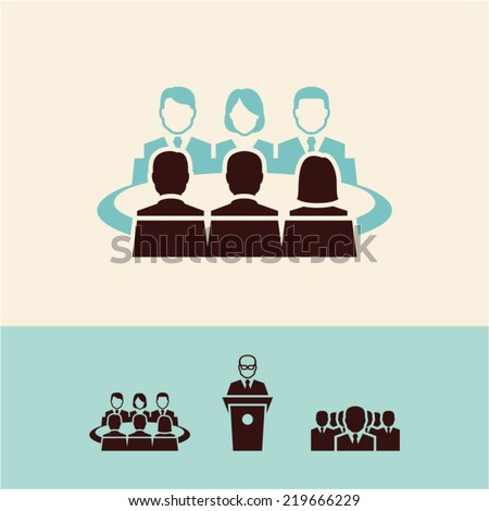 Conference icons - stock vector