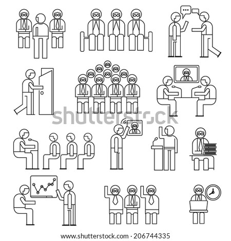 conference icons set, business meeting people set, line theme