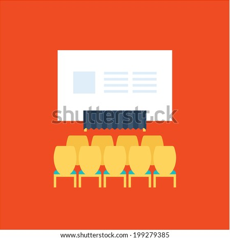 Conference icons vector illustration set flat cute design - stock vector