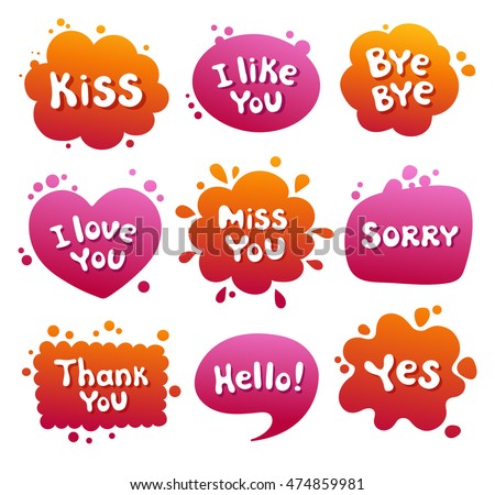 Confession, declaration of love, a message, a greeting. Set of comic style speech bubbles. Vector illustration.