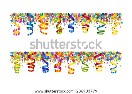 Confetti and serpentine banner - stock vector