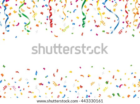 Confetti and streamers with copy space