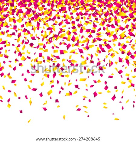 Confetti background. Horizontally seamless vector. - stock vector