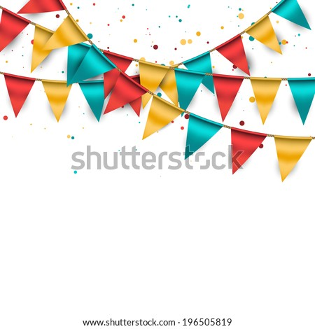Confetti Background with Garland and Buntings - stock vector
