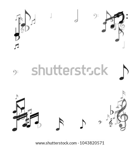 Confetti Frame Vector Music Signs Symbols Stock Vector 1043820571
