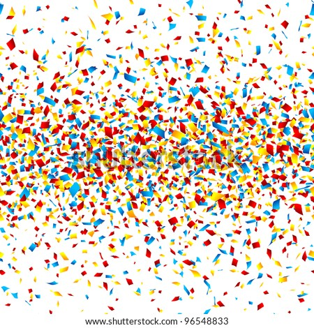 Confetti. Horizontally seamless vector. - stock vector