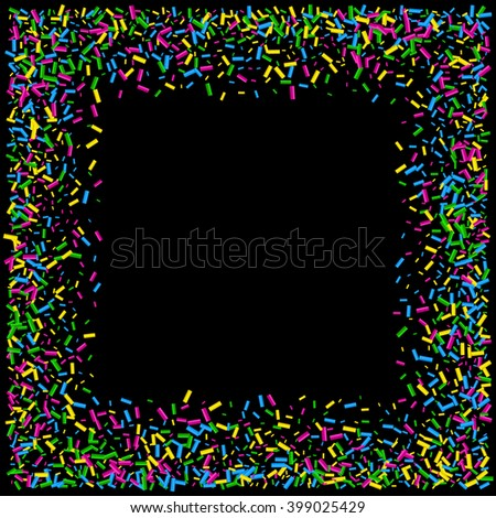Confetti on black background. Use for creative invitation for party, holiday, wedding, birthday. Easy to edit and use.
