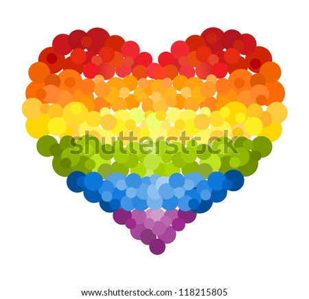 Confetti rainbow heart - stock vector