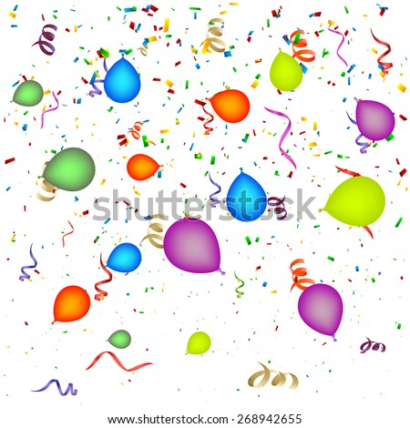 Confetti with Balloons Background - stock vector