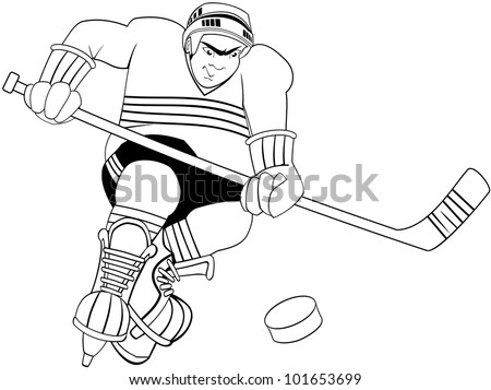 Confident and aggressive ice hockey player with bandage on face, skates and hockey stick chasing a puck with attitude - stock vector