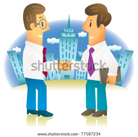 confident businessmen shaking hands in front of skyscrapers - stock vector