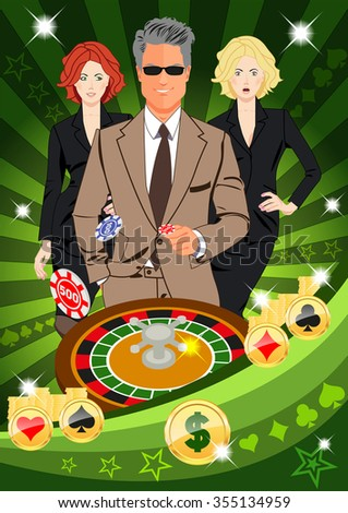 Confident lucky man surrounded by beautiful women throws chips while spinning roulete. Design concept for gambling luck ans successful play. Use for print products, page and web decor or other design. - stock vector
