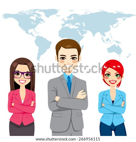 Confident successful professional businesspeople global team standing with arms crossed in front world earth map background - stock vector