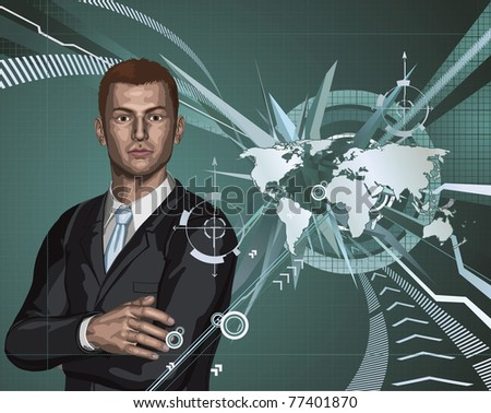 Confident young businessman in front of abstract world map background concept - stock vector