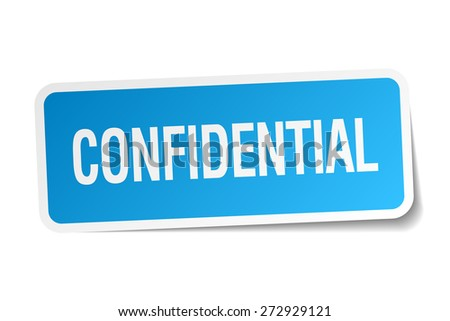 confidential blue square sticker isolated on white - stock vector