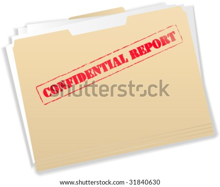 Confidential Report Manila Folder - Vector Illustration - stock vector