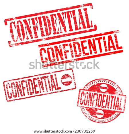 Confidential stamps. Different shape vector rubber stamp illustrations  - stock vector