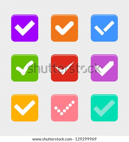 Confirm symbols set with retro look - stock vector