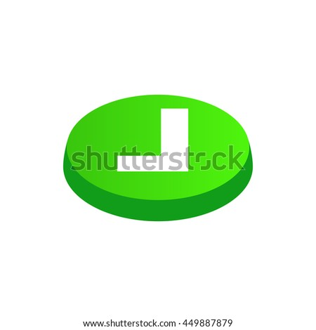 Confirmation button icon in isometric 3d style isolated on white background. Choice of action symbol - stock vector