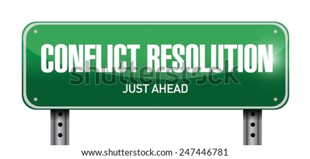 conflict resolution road sign illustration design over a white background - stock vector