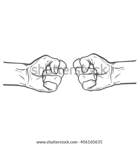 Confrontation. The concept of resistance and competition. The concept of struggle. Fists beat. Sketch illustration. Vector fists. Two fist. Painted vector fist. Fist sketch