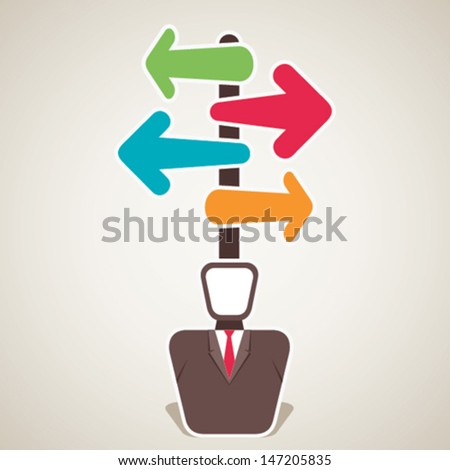 confuse men about right path stock vector