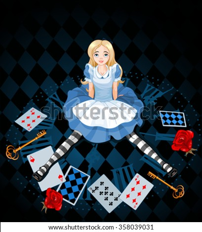 Confused Alice after she has shrunk in size on abstract background - stock vector