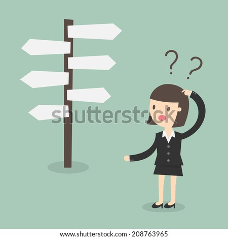 Confused, Business woman in front of a choice - stock vector
