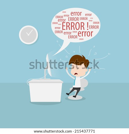 Confused businessman in front of computer. - stock vector