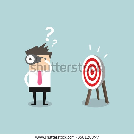 Confused businessman look for target in wrong direction vector - stock vector