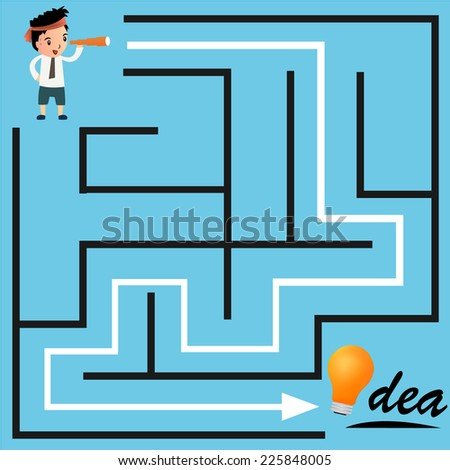 Confused, businessman looking at the white arrow through the labyrinth. - stock vector
