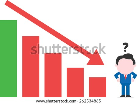 Confused cartoon faceless confused businessman arms akimbo beside bar chart arrow moving down - stock vector