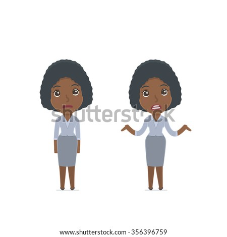 Confused  Character Social Worker embarrassment and does not know what to do. for use in presentations, etc. - stock vector