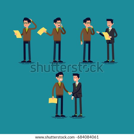 Confused customer gets satisfying support on user agreement. Cool vector set of flat characters on man having problem with complicated document and gets explanation from experienced specialist