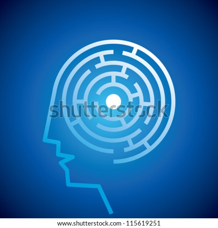 Confused Mind The labyrinth inside the head - stock vector