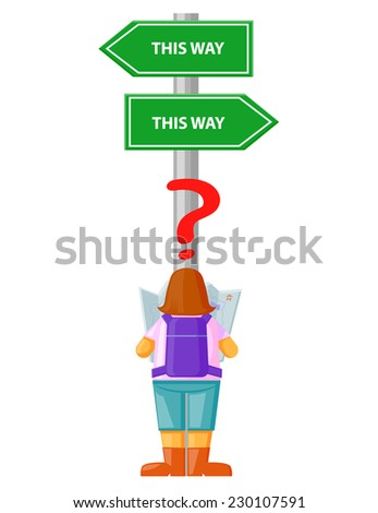 Confused traveler or student while reading a map vector stock vector