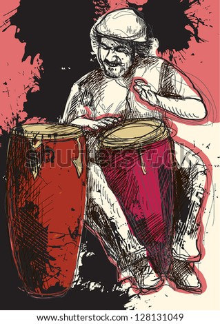 Conga player. Drummer in expressive outlines in front of colored background in red and black. /// Vector description: contours in shades of gray and black, editable in 7 layers. - stock vector